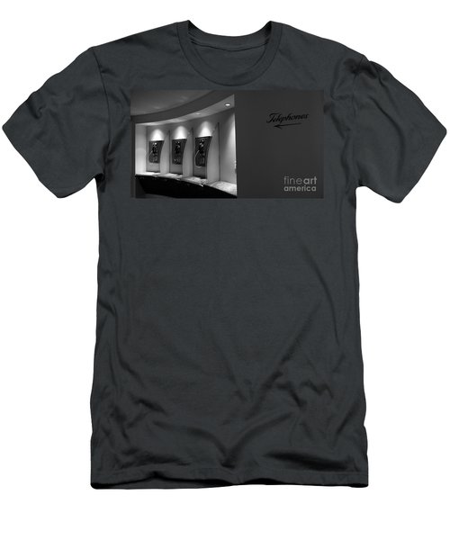 Men's T-Shirt (Slim Fit) featuring the photograph Telephones On Wall by Nina Prommer