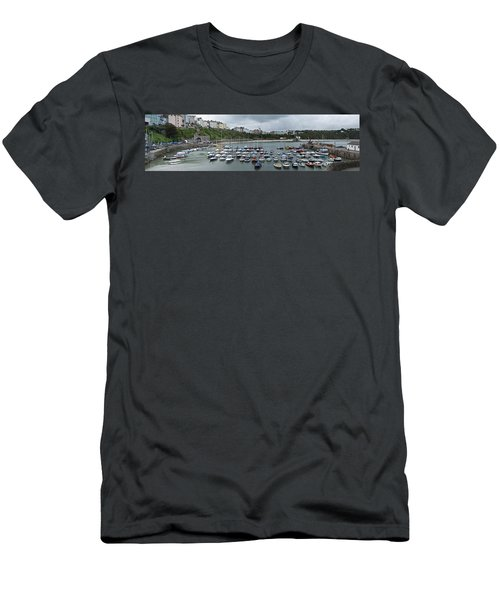 Men's T-Shirt (Slim Fit) featuring the photograph Tenby Harbour Panorama by Steve Purnell
