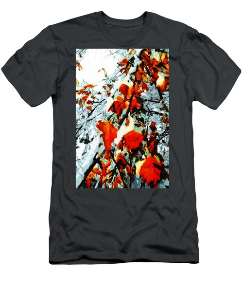 Men's T-Shirt (Slim Fit) featuring the photograph The Autumn Leaves And Winter Snow by Steve Taylor