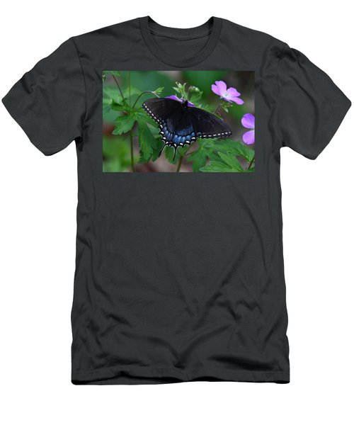 Tiger Swallowtail Female Dark Form On Wild Geranium Men's T-Shirt (Athletic Fit)