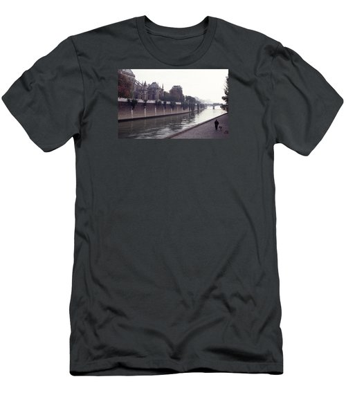 Men's T-Shirt (Slim Fit) featuring the photograph Walking The Dog Along The Seine by Tom Wurl