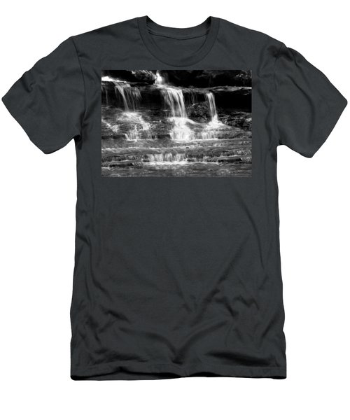 Waterfall Trio At Mcconnells Mill State Park In Black And White Men's T-Shirt (Athletic Fit)