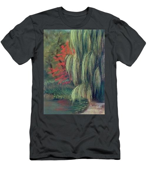 Men's T-Shirt (Slim Fit) featuring the drawing Willow Tree - Hidden Lake Gardens -tipton Michigan by Yoshiko Mishina