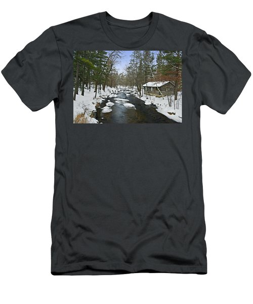 Men's T-Shirt (Slim Fit) featuring the photograph Winter Saxeville Log Cabin by Judy  Johnson