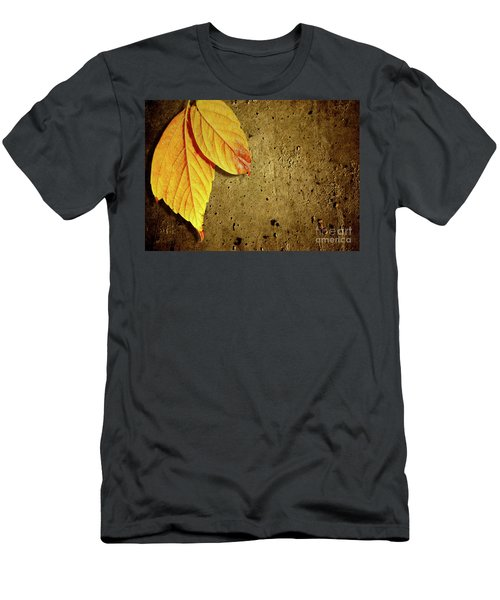 Yellow Fall Leafs Men's T-Shirt (Athletic Fit)