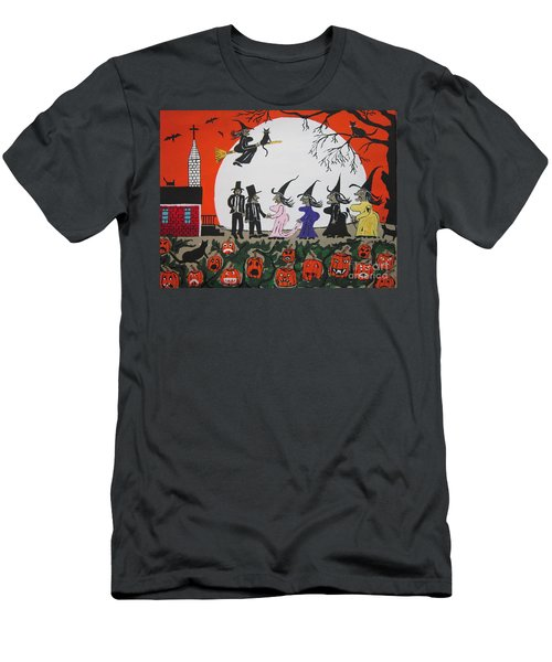 Men's T-Shirt (Slim Fit) featuring the painting  A Halloween Wedding by Jeffrey Koss