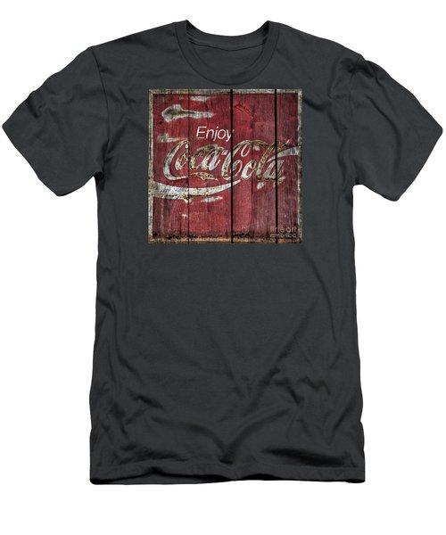 Coca Cola Sign Barn Wood Men's T-Shirt (Athletic Fit)
