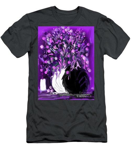 Flower Art Love Purple Flowers  Love Pink Flowers Men's T-Shirt (Athletic Fit)