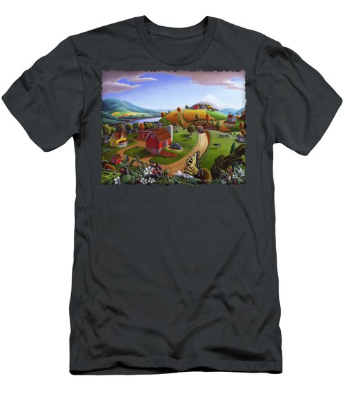 Folk Art Blackberry Patch Rural Country Farm Landscape Painting - Blackberries Rustic Americana Men's T-Shirt (Slim Fit) by Walt Curlee