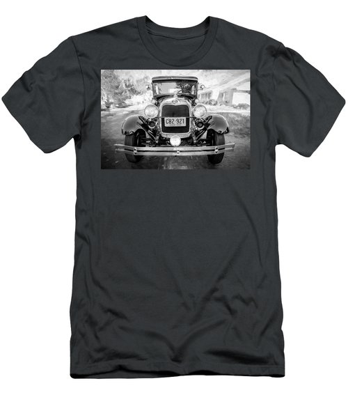 Men's T-Shirt (Slim Fit) featuring the photograph 1929 Ford Model A Tudor Police Sedan Bw by Rich Franco