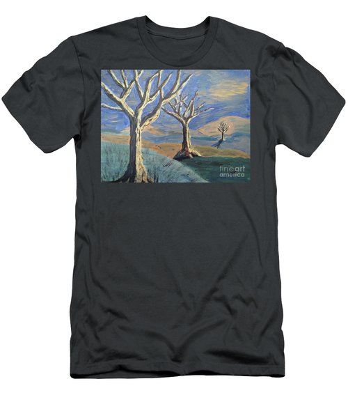 Men's T-Shirt (Slim Fit) featuring the painting Bare Trees by Judy Via-Wolff