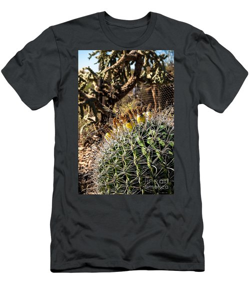 Men's T-Shirt (Slim Fit) featuring the photograph Barrel Cactus by Lawrence Burry
