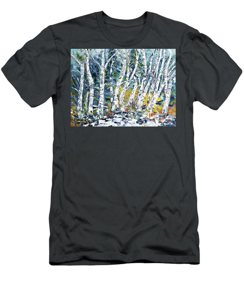 Men's T-Shirt (Slim Fit) featuring the painting Birches Pond by AmaS Art