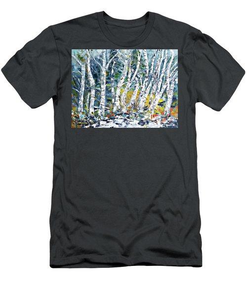 Birches Pond Men's T-Shirt (Slim Fit) by AmaS Art