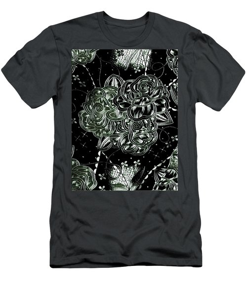 Black Flower Men's T-Shirt (Slim Fit)