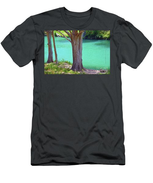 Blanco River Texas Men's T-Shirt (Slim Fit) by Ray Shrewsberry