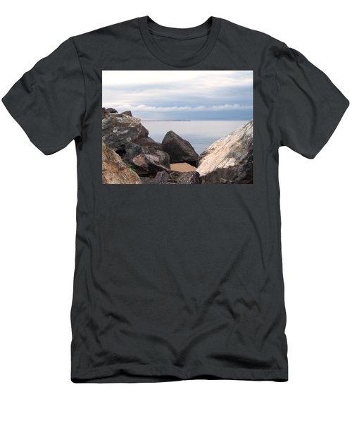 Break Wall On Lake Superior Men's T-Shirt (Slim Fit) by Phil Perkins