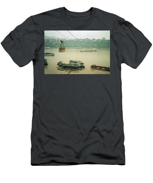 Cable Car Over Yangzi River In Chongqing China Men's T-Shirt (Athletic Fit)