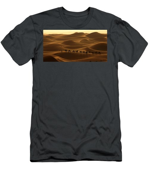 Camel Caravan In The Erg Chebbi Southern Morocco Men's T-Shirt (Athletic Fit)