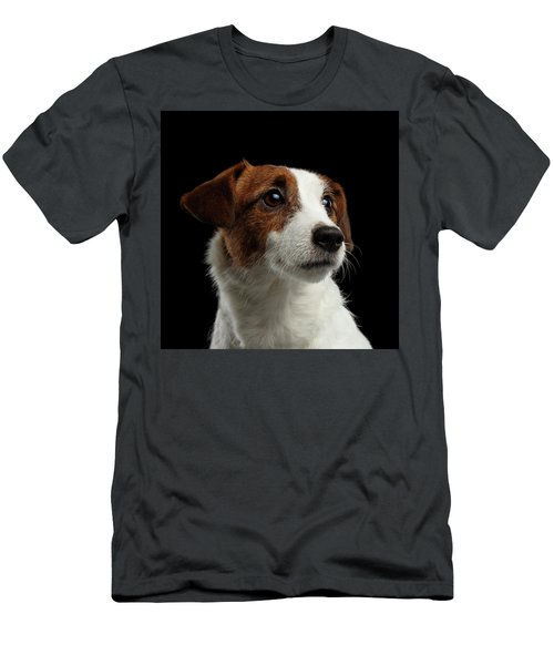 Closeup Portrait Of Jack Russell Terrier Dog On Black Men's T-Shirt (Slim Fit) by Sergey Taran