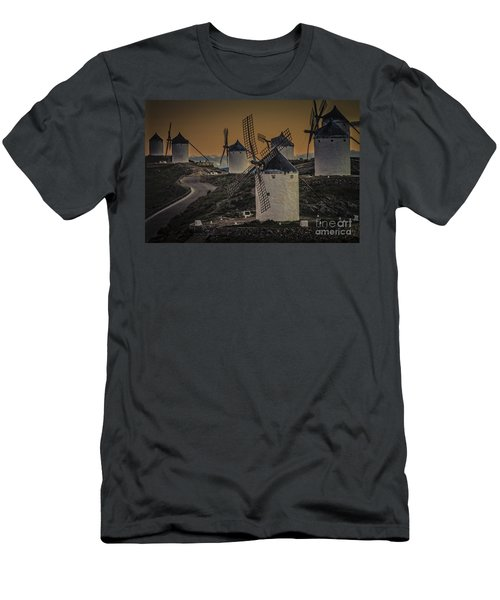 Men's T-Shirt (Slim Fit) featuring the photograph Consuegra Windmills 2 by Heiko Koehrer-Wagner