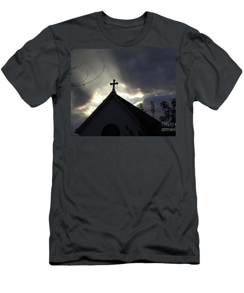 Men's T-Shirt (Slim Fit) featuring the painting Cross In Sun Rays by Debra Crank