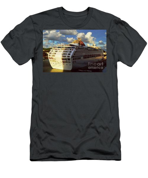 Cruise Ship In Port Men's T-Shirt (Slim Fit) by Gary Wonning