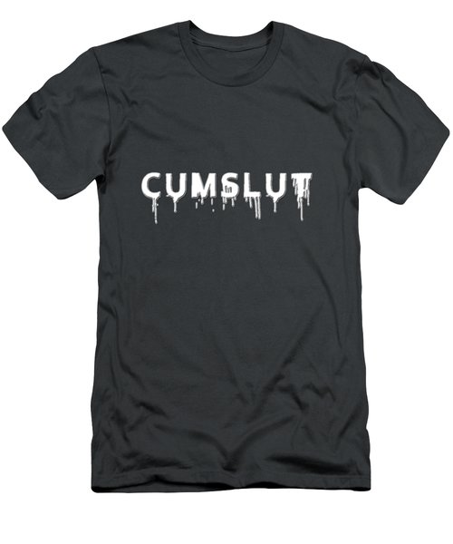 Men's T-Shirt (Slim Fit) featuring the mixed media Cumslut by TortureLord Art