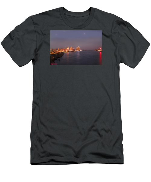 Men's T-Shirt (Slim Fit) featuring the photograph Detroit Skyline At Night by Michael Rucker