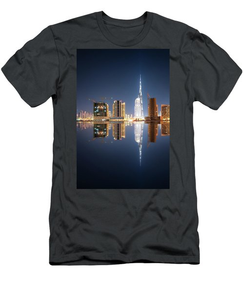 Fascinating Reflection Of Tallest Skyscrapers In Business Bay District During Calm Night. Dubai, United Arab Emirates. Men's T-Shirt (Athletic Fit)
