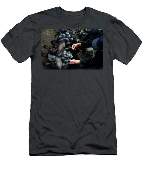 Feeding The Pigeons Men's T-Shirt (Slim Fit) by James David Phenicie
