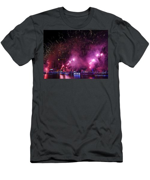 Men's T-Shirt (Slim Fit) featuring the photograph Fireworks Along The Love River In Taiwan by Yali Shi