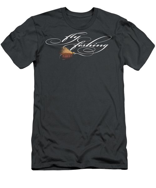Fly Fishing Elk Hair Caddis Men's T-Shirt (Slim Fit) by Rob Corsetti