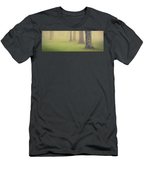 Men's T-Shirt (Athletic Fit) featuring the photograph Foggy Trees Pano by Joye Ardyn Durham