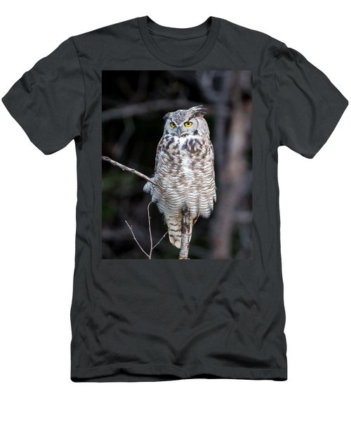 Great Horned Owl  Men's T-Shirt (Slim Fit) by Jack Bell