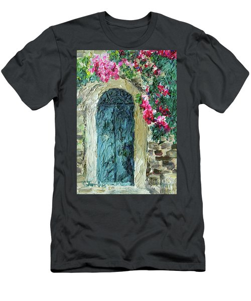 Green Italian Door With Flowers Men's T-Shirt (Athletic Fit)