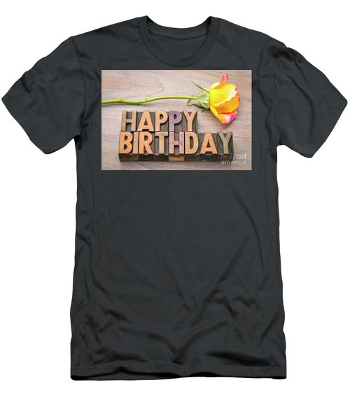 Happy Birthday Greetings In Wood Type Men's T-Shirt (Athletic Fit)