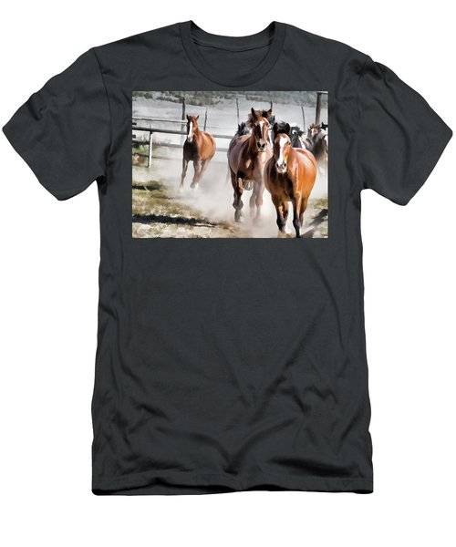Men's T-Shirt (Athletic Fit) featuring the digital art Horses Running Into A Dusty Ranch Corral by Nadja Rider