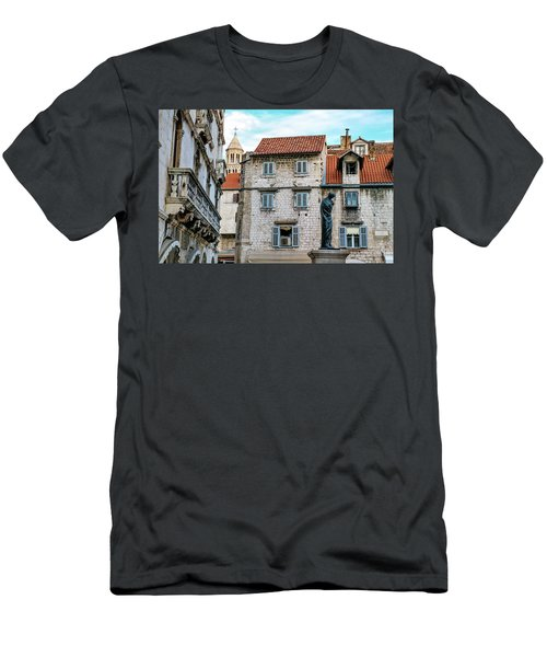 Houses And Cathedral Of Saint Domnius, Dujam, Duje, Bell Tower Old Town, Split, Croatia Men's T-Shirt (Slim Fit) by Elenarts - Elena Duvernay photo