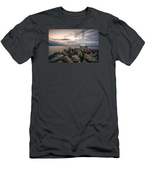 Huron Harbor Lighthouse Men's T-Shirt (Slim Fit) by James Dean