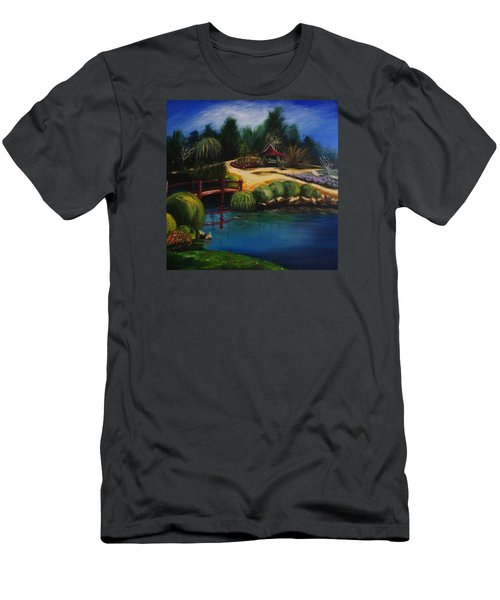 Men's T-Shirt (Slim Fit) featuring the painting Japanese Gardens - Original Sold by Therese Alcorn