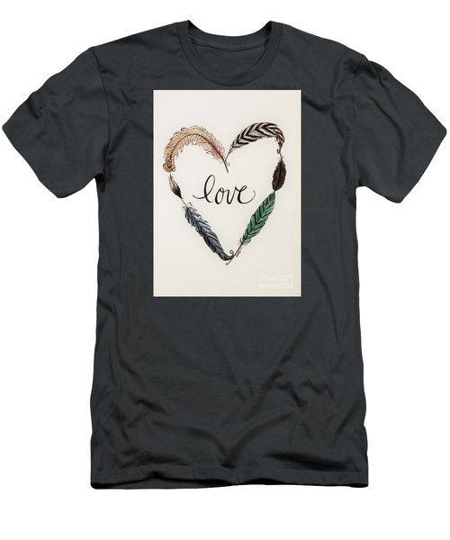 Feathers Of Love Men's T-Shirt (Slim Fit) by Elizabeth Robinette Tyndall