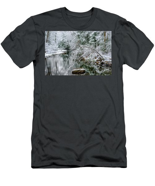 Men's T-Shirt (Slim Fit) featuring the photograph March Snow Cranberry River by Thomas R Fletcher