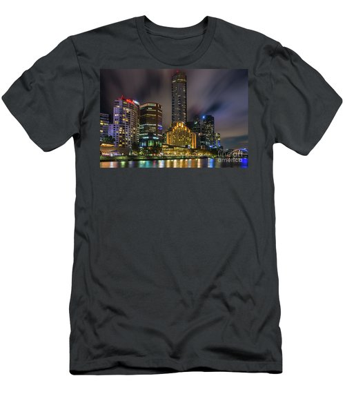 Melbourne City Skyline Over Yarra River  Men's T-Shirt (Athletic Fit)