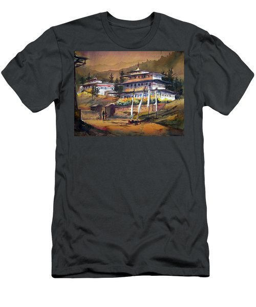 Men's T-Shirt (Slim Fit) featuring the painting Monastery In Himalaya Mountain by Samiran Sarkstery in Himalaya Mountainar