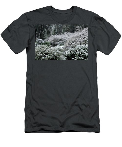 Morning Snow In The Garden Men's T-Shirt (Slim Fit) by Don Schwartz