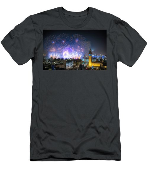 New Year Fireworks Men's T-Shirt (Athletic Fit)