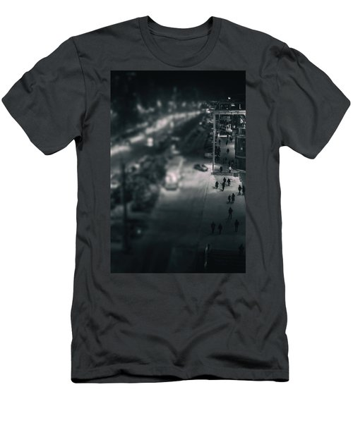 People At Night From Arerial View Men's T-Shirt (Athletic Fit)