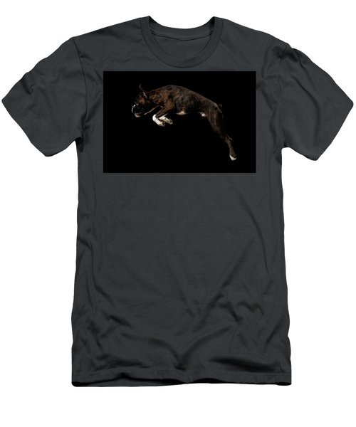 Men's T-Shirt (Athletic Fit) featuring the photograph Purebred Boxer Dog Isolated On Black Background by Sergey Taran