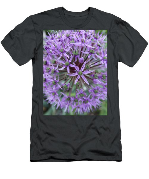 Purple Allium Burst Men's T-Shirt (Slim Fit) by Rebecca Overton